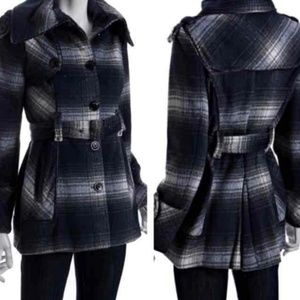 $200  Miss sixty wool blended plaid belted coat